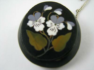 Antique Victorian Pietra Dura Whitby Jet Pansies Flowers Brooch Pin Micro Mosaic