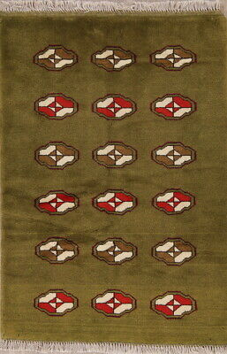 Hand-Knotted Soft Plush Pile Army Green Gabbe Oriental Wool Rug 3'x5'