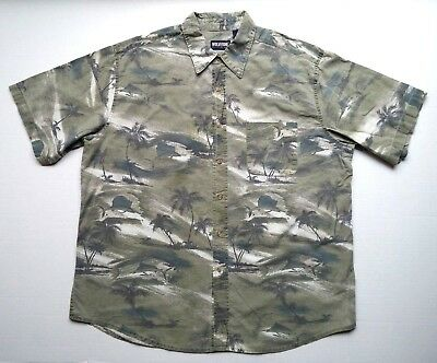 e5b48e4e62d WOLVERINE BOOTS AND Gear Mens Button Shirt Green Palm Tree Dolphin Size XL  as-is