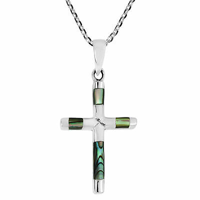 Elegant X Cross Abalone Inlay Sterling Silver Necklace