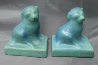 Antique Mission Era Arts & Crafts Art Pottery Van Briggle Pair of Bookends Dogs