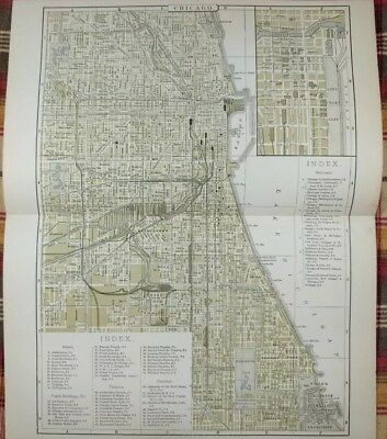 "Vintage 1896 CHICAGO ILLINOIS City Atlas Map 10""x13"" ~ Old Antique Original MAPZ"