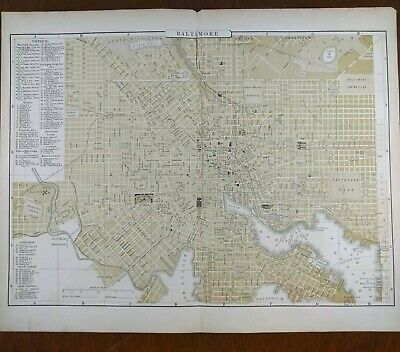 1896 BALTIMORE MARYLAND Map AJ JOHNSON Old Antique Original COLUMBIA TOWSON MAPZ