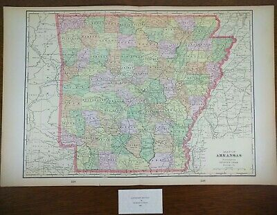 "ARKANSAS 1900 Vintage Atlas Map 22""x14"" ~ Old Antique HOT SPRINGS MOUNT IDA"