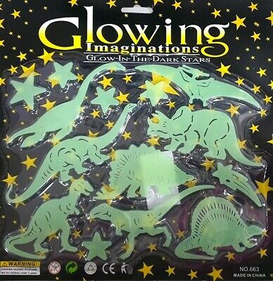 """GLOW IN THE DARK DINOSAURS & STARS"" 14 Plastic Stick on Shapes"