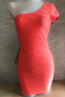 NWT bebe M Medium L Large one shoulder coral top bodycon dress stretch 6 8 10