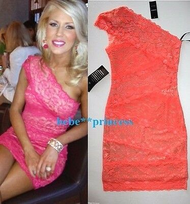 NWT bebe lace coral nude one shoulder floral bodycon top dress XS 0 2 club