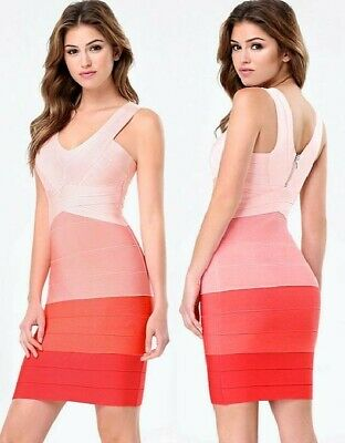 NWT bebe coral pink orange colorblock double v neck bandage top dress XS 0 2