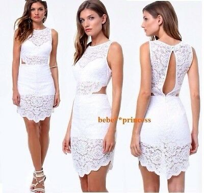 NWT bebe white overlay lace raya side cutout back hi low top dress club L large
