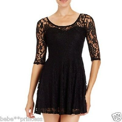 NWT bebe black overall lace floral stretchy party flare top dress club XS 0 2