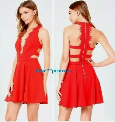 $149 NWT bebe red scallop lace trim flare deep v cutout back top dress XL 12