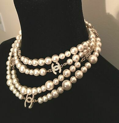 "Auth-Chanel- Pearl 6 Cc Logo Diamante Dual Sided 68"" Necklace Ultra Rare Limited"