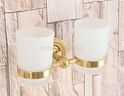 Gold Color Brass Bathroom Double Tumbler Cup Holder Toothbrush Holder lba598