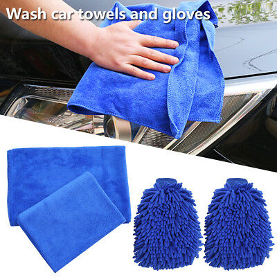 4Pc Car Vehicle Microfiber Soft Hand Towel Coral Chenille Washing Cleaning Glove