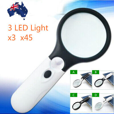 3 LED Light Handheld Magnifier 3X 45X Reading Magnifying Glass Jewelry Loupe