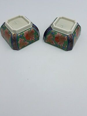 Japanese Imari Ware Footed Small Square Sauce Dipping Dishes Floral Gold- Pair