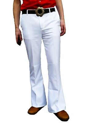 FLARES White Mens Bell Bottoms Hippie vtg indie Trousers Disco 60s 70s Pants