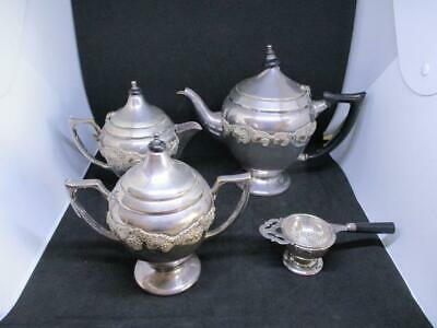 x3 PIECE VINTAGE SARACEN REPRODUCTION SILVERPLATED TEA SET TEAPOT LIDDED POT