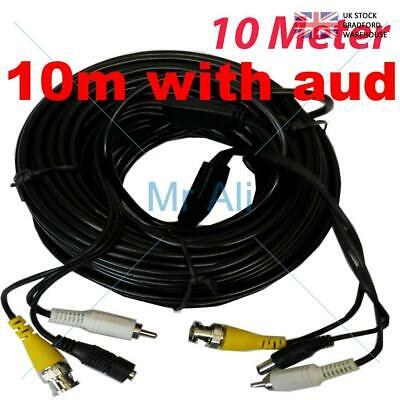 10m PRE-MADE SIAMESE CABLE CCTV BNC VIDEO DC POWER AND AUDIO CABLE (BLACK)