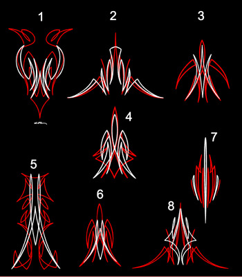 Custom pinstriping decals hot rod sticker  x8