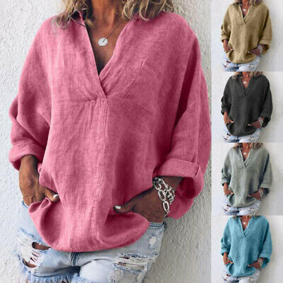 Casual Womens Pullover Baggy Tops Blouse Ladies Plain Plus Size Jumper T-Shirt
