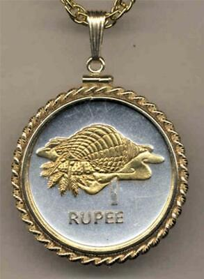 """Seychelles 1 Rupee """"Conch"""" Silver & 24 k Gold Plated 18"""" or 24"""" Coin Necklace"""