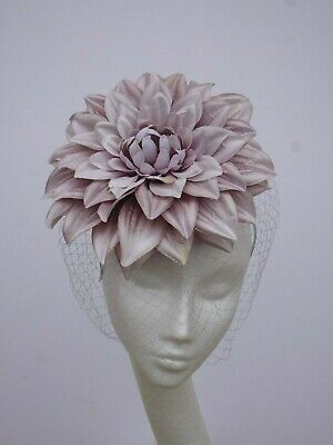 Dusty Pink Large Flower Fascinator Hat Wedding Ascot Derby Races Headpiece Hair
