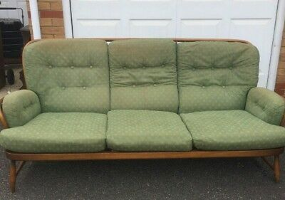 Ercol Jubilee solid beech 3 & 2 seater sofas blond with original cushions 1970s