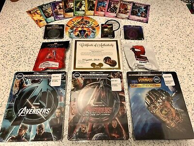 MARVEL Avengers + Age of Ultron + Infinity War 4K Blu-ray STEELBOOK Endgame Coin