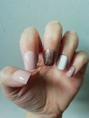 Hand Painted False Nails, Nude Shiny Glossy Bronze Glitter, White Square ANY