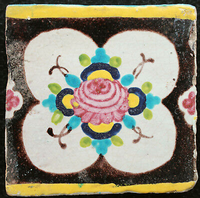 19 th C. Antique Qajar tile, Persia with pink Flower decoration