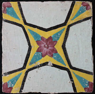 19 th C. Antique Qajar tile, Persia with central four-pointed star