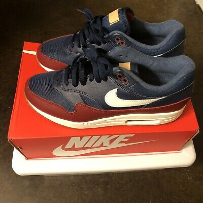 Nike Air Max 1 Men's Shoes Navy Team Red 2018 Sneakers AH8145 400 Size 9.5