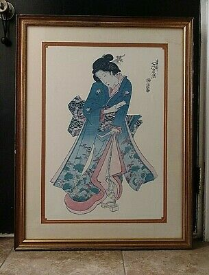 "RARE LARGE Chinese ANTIQUE Hand Painted Watercolor Early 1900's 26"" x 38"" SIGNED"