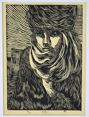 Vintage 1970's Woodblock Print Young Man Bundled Against the Cold signed #'d