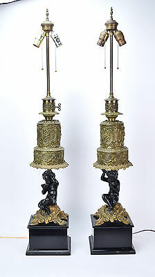 Vintage Pair Ornate French Cherub Brass Table Lamps on Wooden Plinths