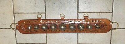 Collectable ANTIQUE BRASS HORSE SLEIGH BELLS AND STUDS TAN LEATHER RUMP STRAP