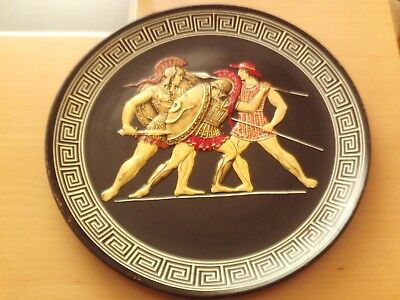 """Vintage Signed Hand Painted Pottery Wall Plaque Plate ~Made in Greece 13""""Across."""