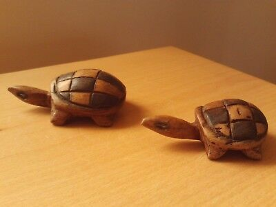 Vintage X2 Wooden Carved Tortoise Animal Figurines.