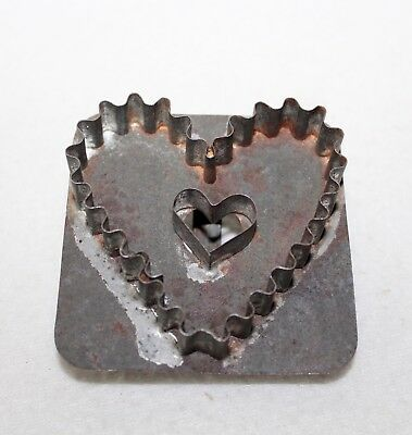 "Primitive Antique ""HEART WITH HEART CUTOUT"" Flat Back Tin Cookie Cutter Handle"