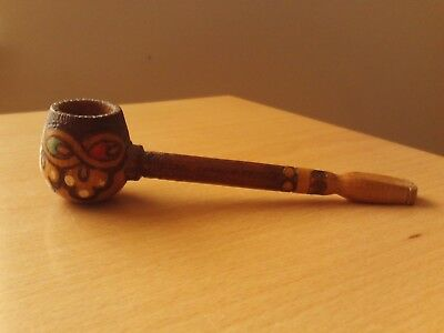 Vintage Decorative Carved Wooden Pipe with Red,White & Green Paintwork.