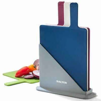 Salter Chopping Board Set Multicolour Set of 4 Easy Storage Compact Board Stand