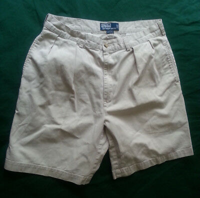 POLO Ralph Lauren Men Size 34 Chinos White Cotton Shorts Pleated Front