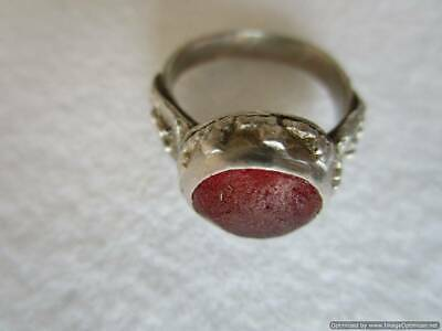 Early Ottoman Empire, rare silver ring, red ruby, weight 5.32 g, RRR!!!