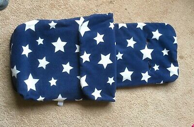 John Lewis Blue And White Stars Fleece Foot Muff / Cosy Toes,