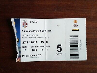 Biglietto ticket calcio SPARTA PRAGA VS NAPOLI 27-11-2014 EUROPA LEAGUE FOOTBALL