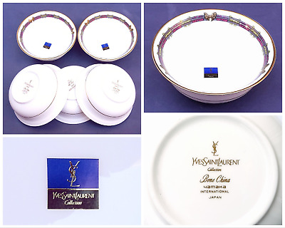 80s NEW Yves Saint Laurent 5 Bone China Vintage Bowls Hand Painted  YSL Dishes