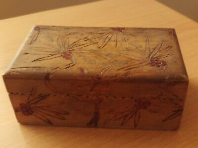 "Vintage Wooden Carved Trinket Box with Red Design ~ Roughly 4 3/4"" Long."