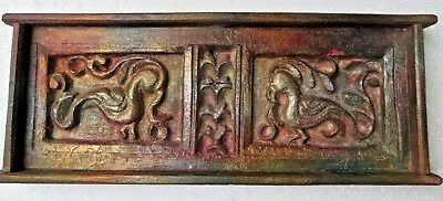Architectural Carved Wood remanent reclaimed decor bird figure wall panel 1900