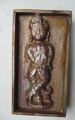 Architectural Carved Wood remanent reclaim wall decor God Krishna damage 1900